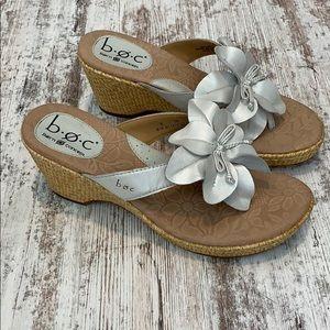 Boc Born white flower wedge sandals